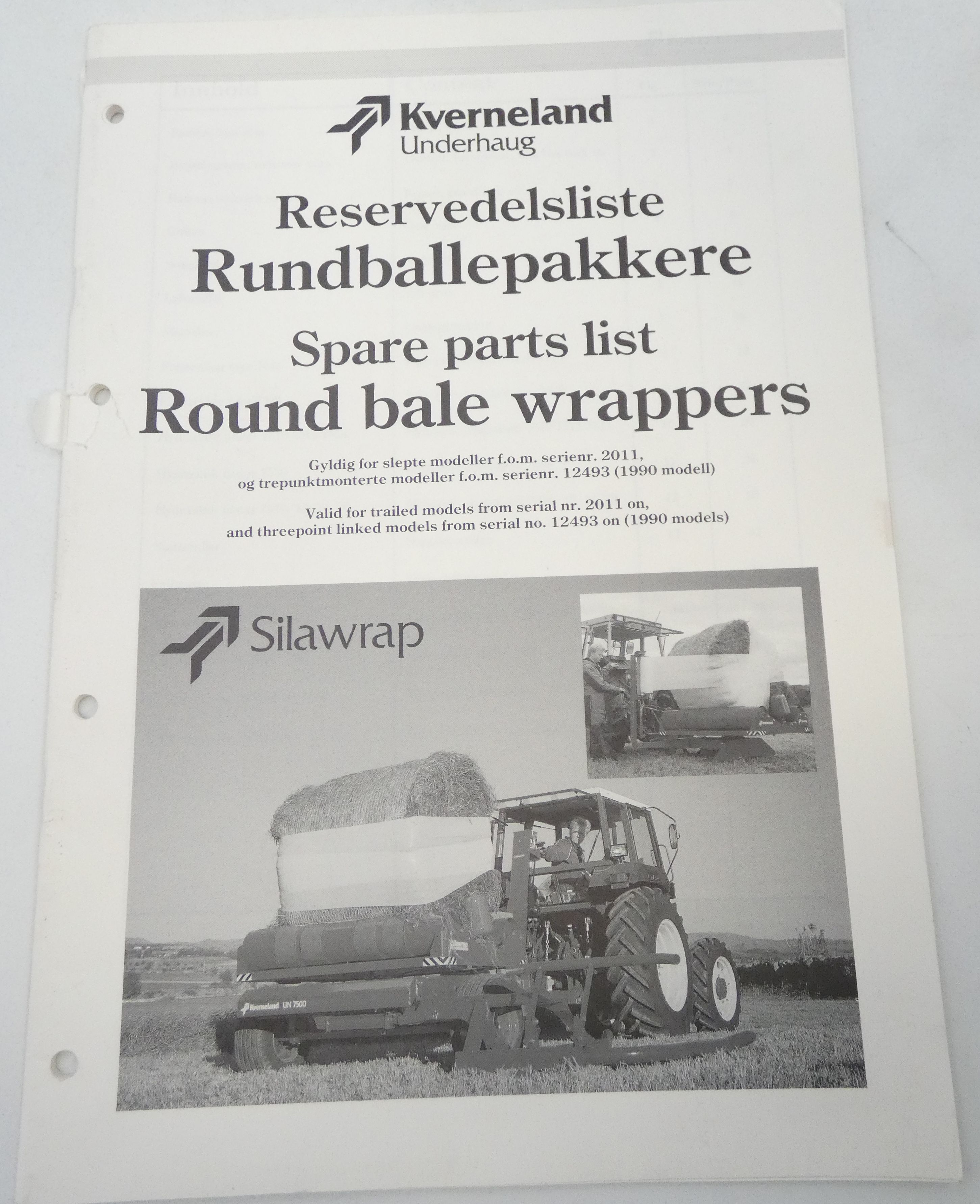 Kverneland round bale wrappers spare parts list