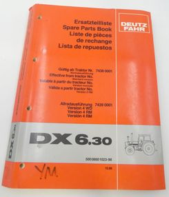 Deutz-Fahr DX6.30 spare parts book