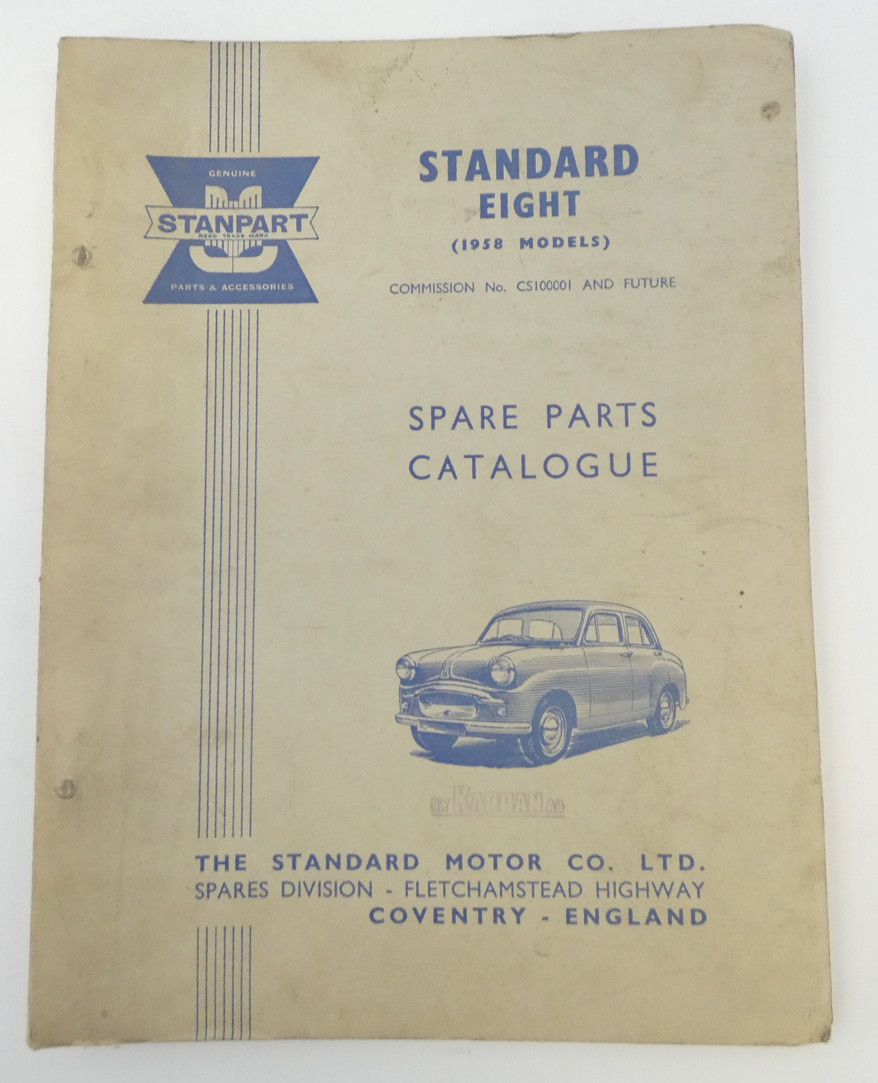 Standard Eight (1958 models) spare parts catalogue
