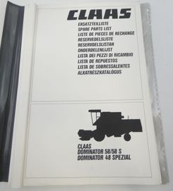 Claas Dominator 58/585, Dominator 48 spezial spare parts list