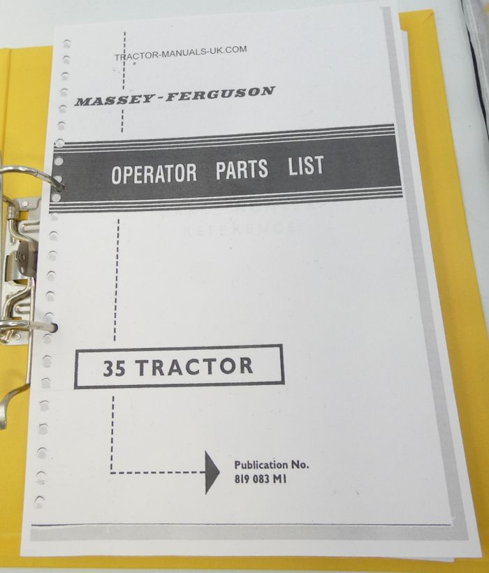 Massey-Ferguson 35 tractor operator parts list