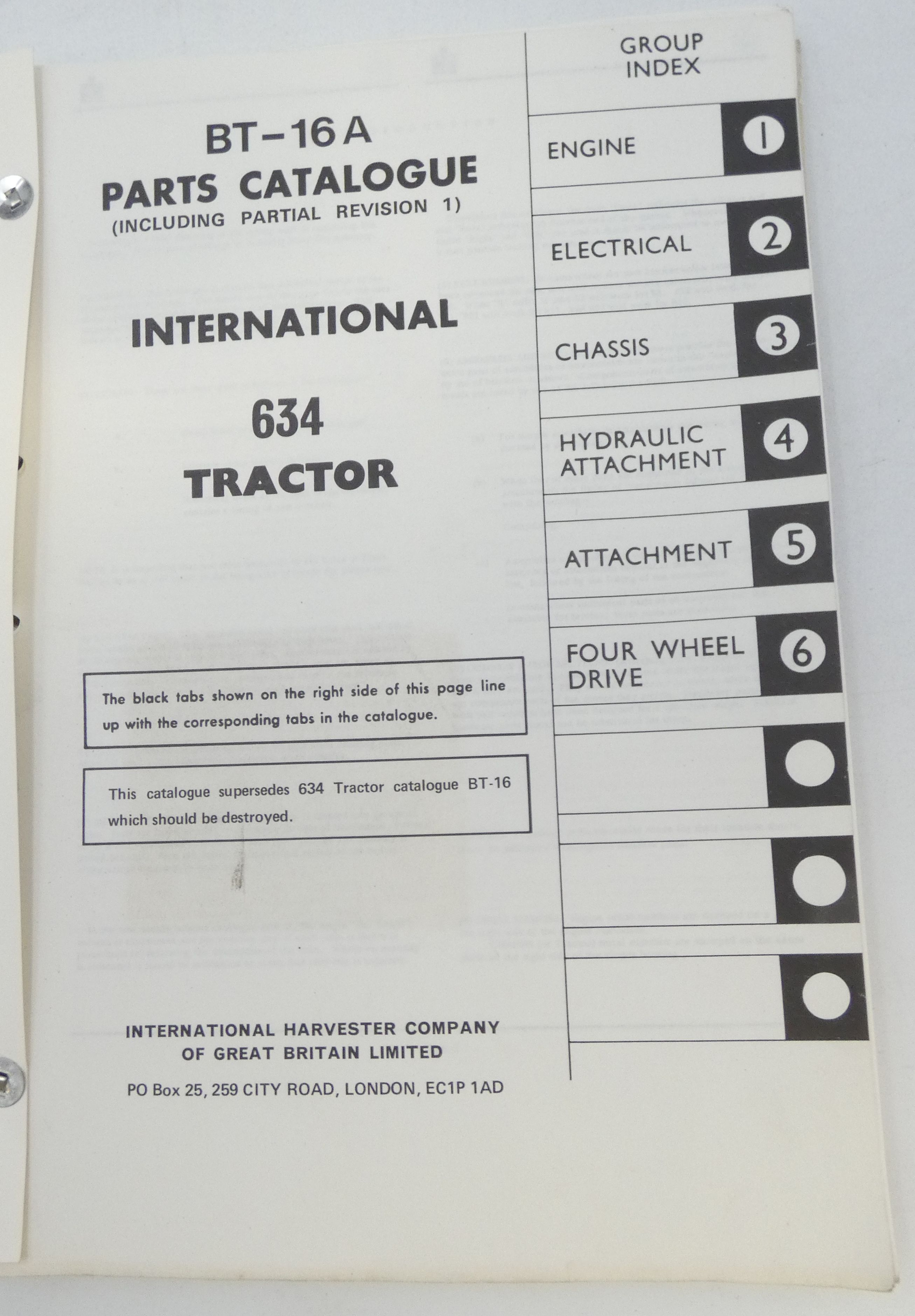 International 634 tractor parts catalogue