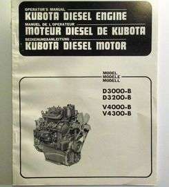 Kubota D3000-B, D3200-B, V4000-B, V4300-B Operators Manual