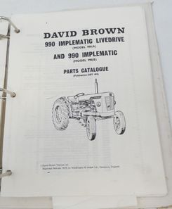David Brown 990 implematic livedrive and 950 implematic parts catalogue