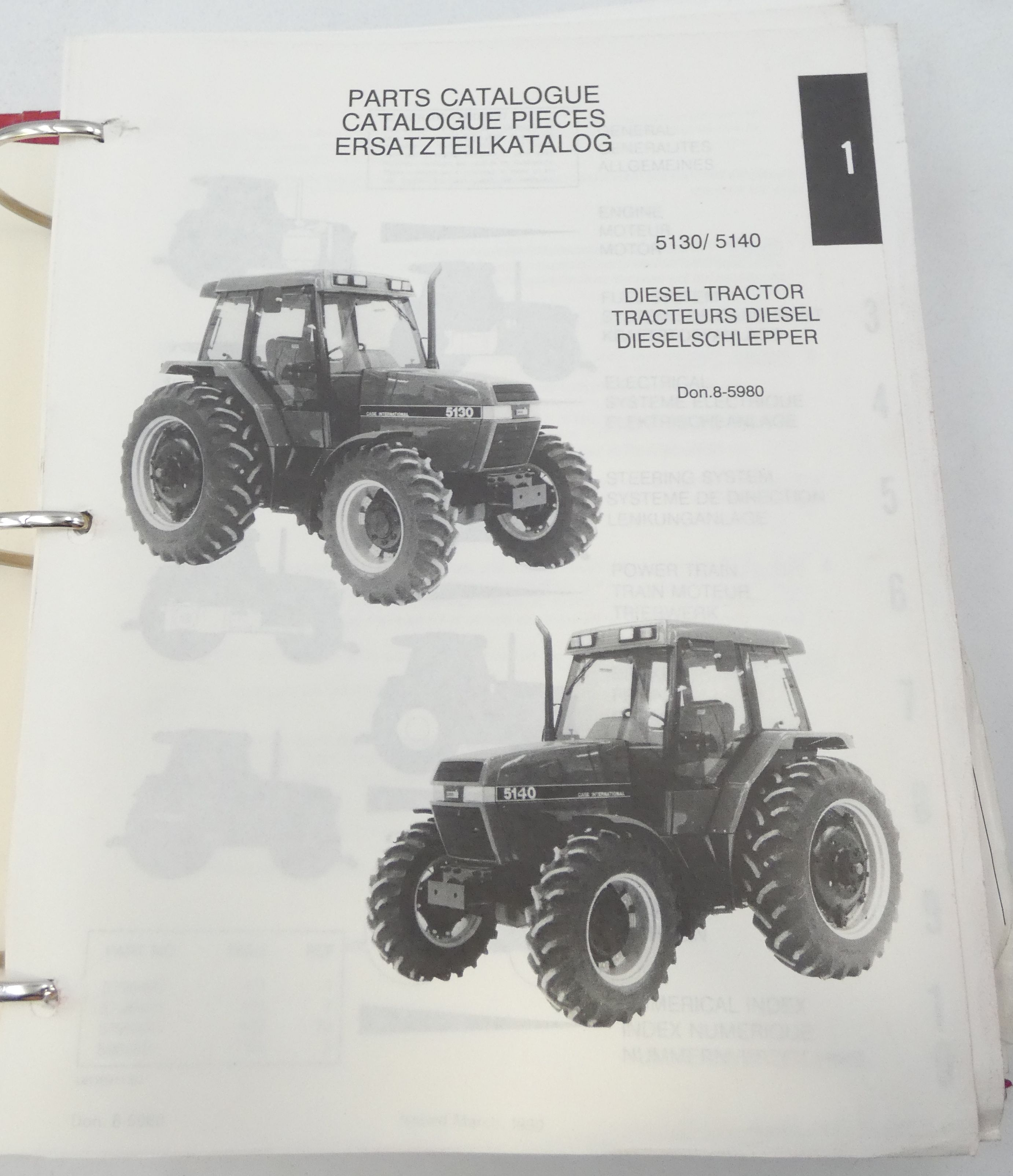 Case International 5130, 5140 diesel tractor parts catalogue
