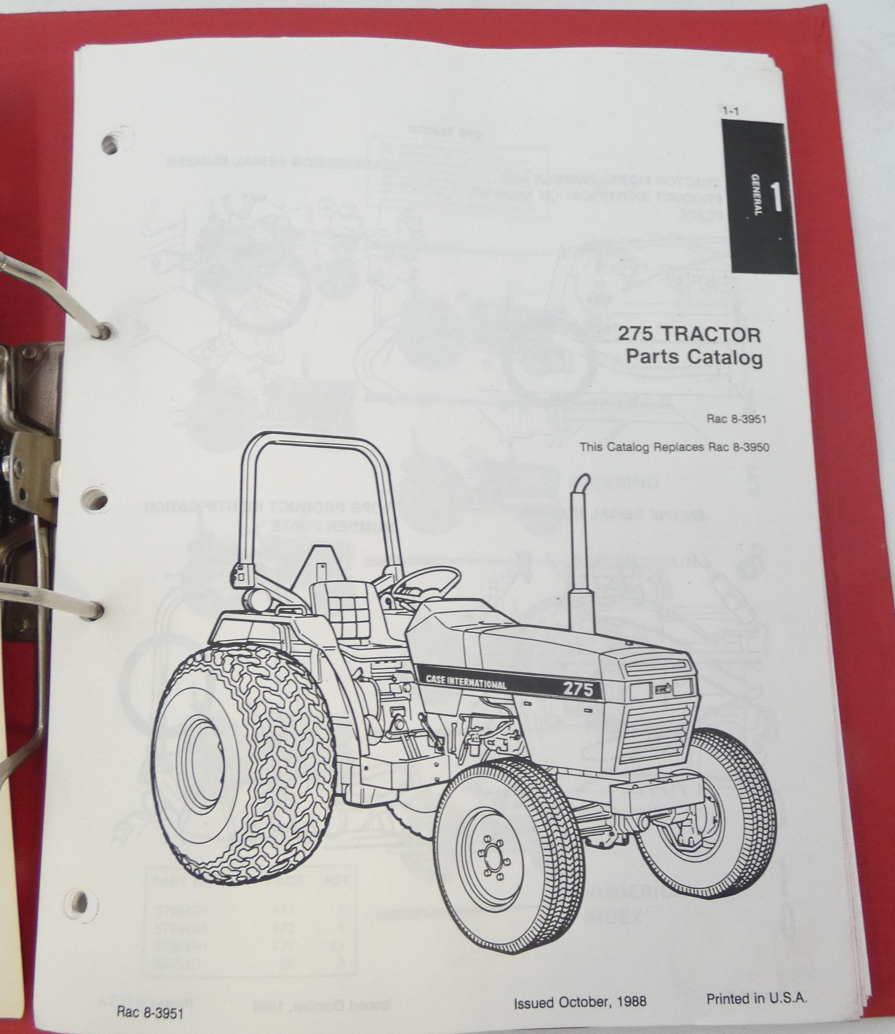 Case International 275 tractor parts catalog