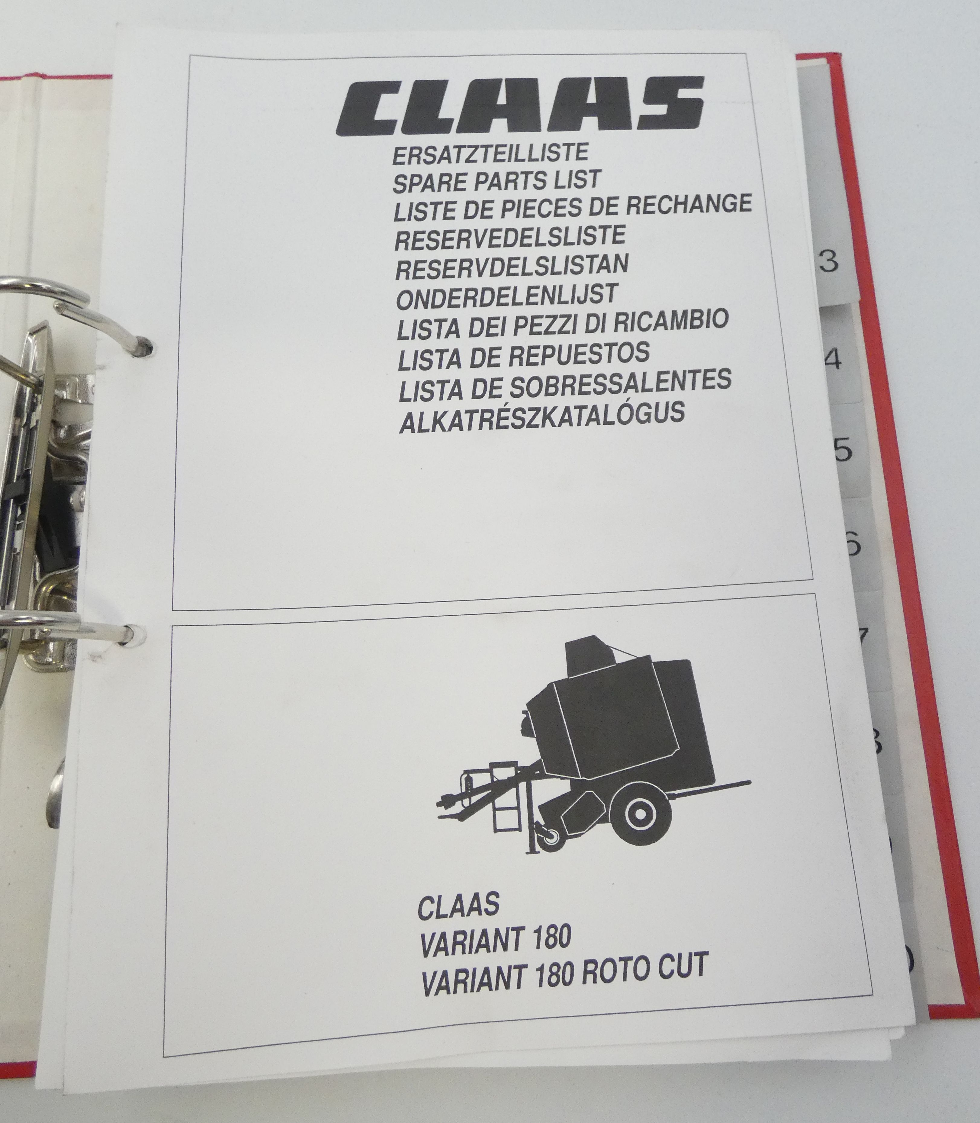 Claas Variant 180, Variant 80 proto cut spare part list