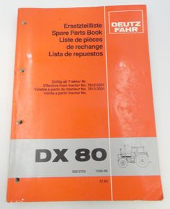 Deutz-Fahr DX80 spare parts book