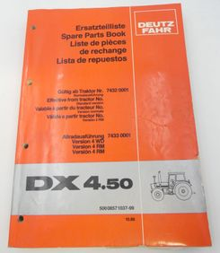 Deutz-Fahr DX4.50 spare parts book