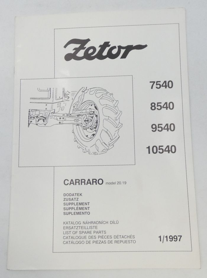 Zetor 7540, 8540, 9540, 10540 list of parts supplement