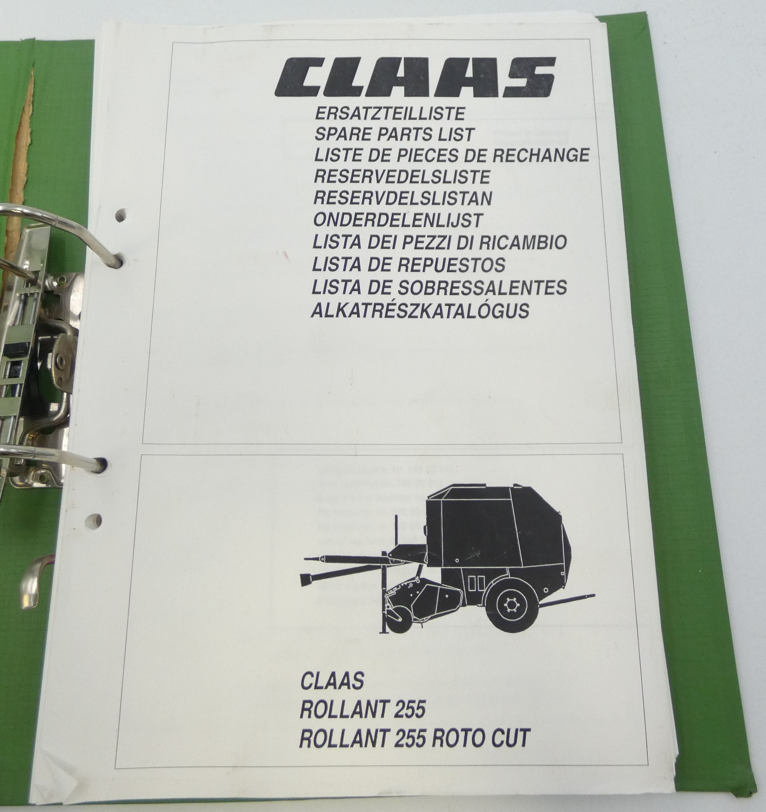 Claas Rollant 255/255 Proto cut spare parts list