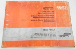 Deutz-Fahr M660, M770 combine harvester spare parts list