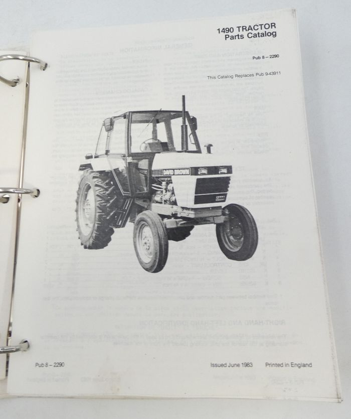 Dacid Brown 1490 tractor parts catalog