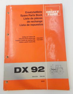 Deutz-Fahr XD92 spare parts book
