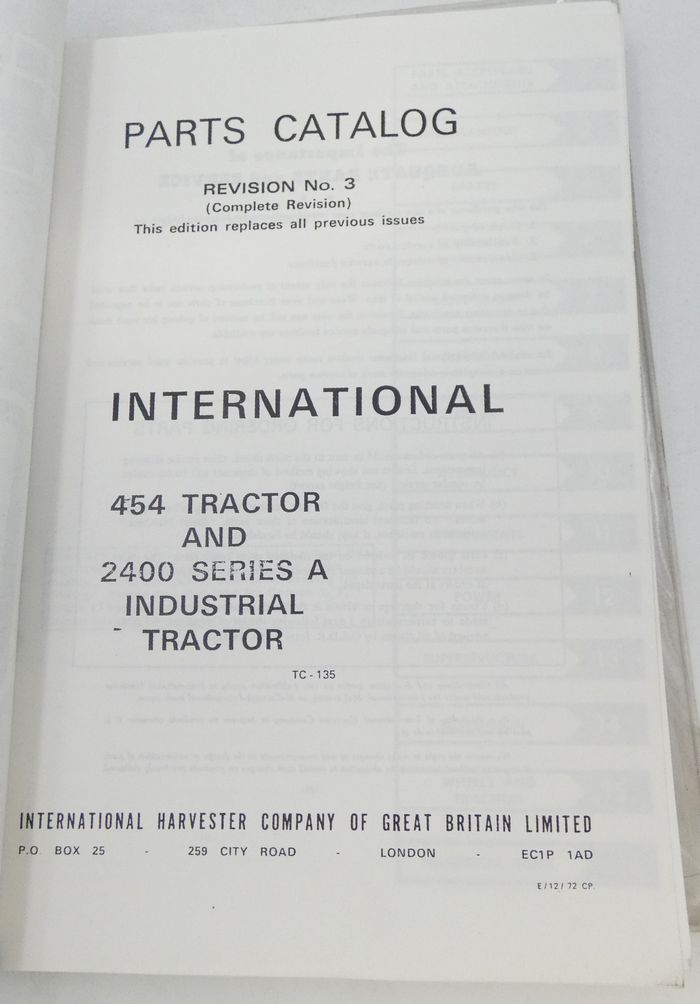 International 454 tractor and 2500 series A industrial tractor parts catalog