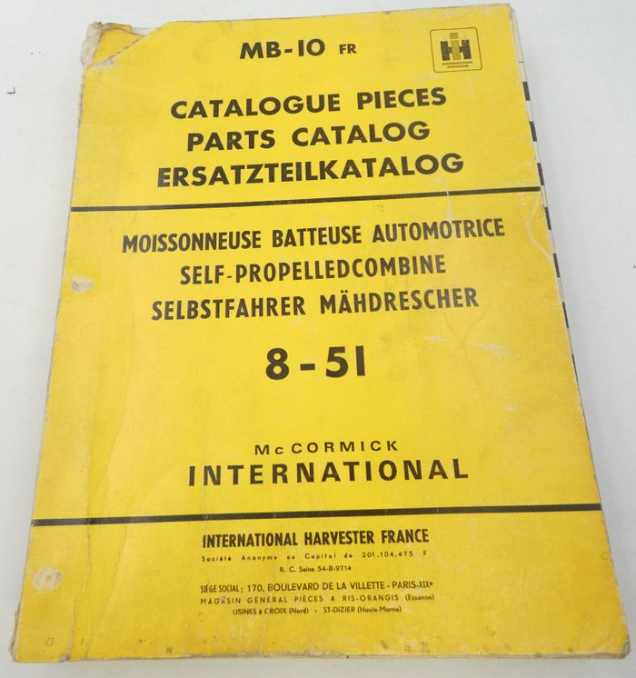 McCormick International self propelled combine 8-51 parts catalog