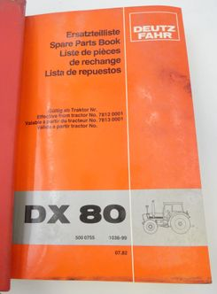 Deutz-Fahr DX80, DX92 spare part book