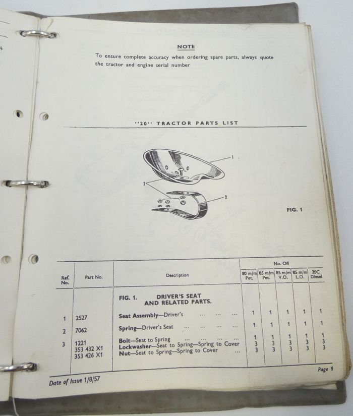 Massey-Ferguson 20 parts book binder