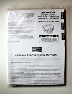 Honda GX240 GX270 GX340 GX390 Owners manual