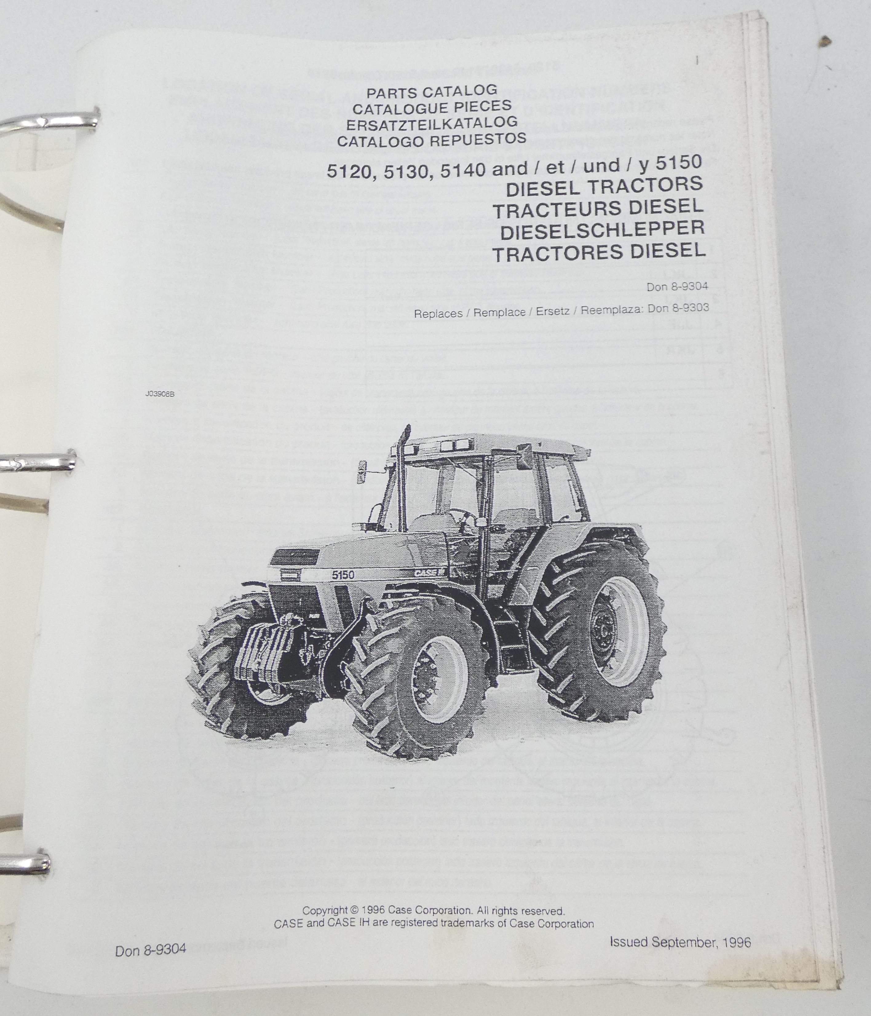 Case 5120, 5130, 5140 and 5150 diesel tractors parts catalog