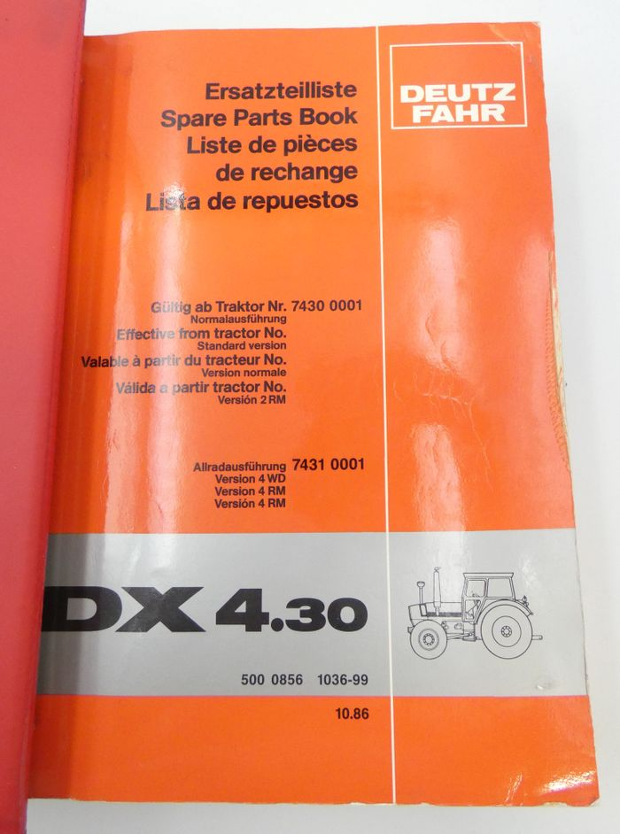 Deutz-Fahr DX4.30, DX4.70 spare parts book