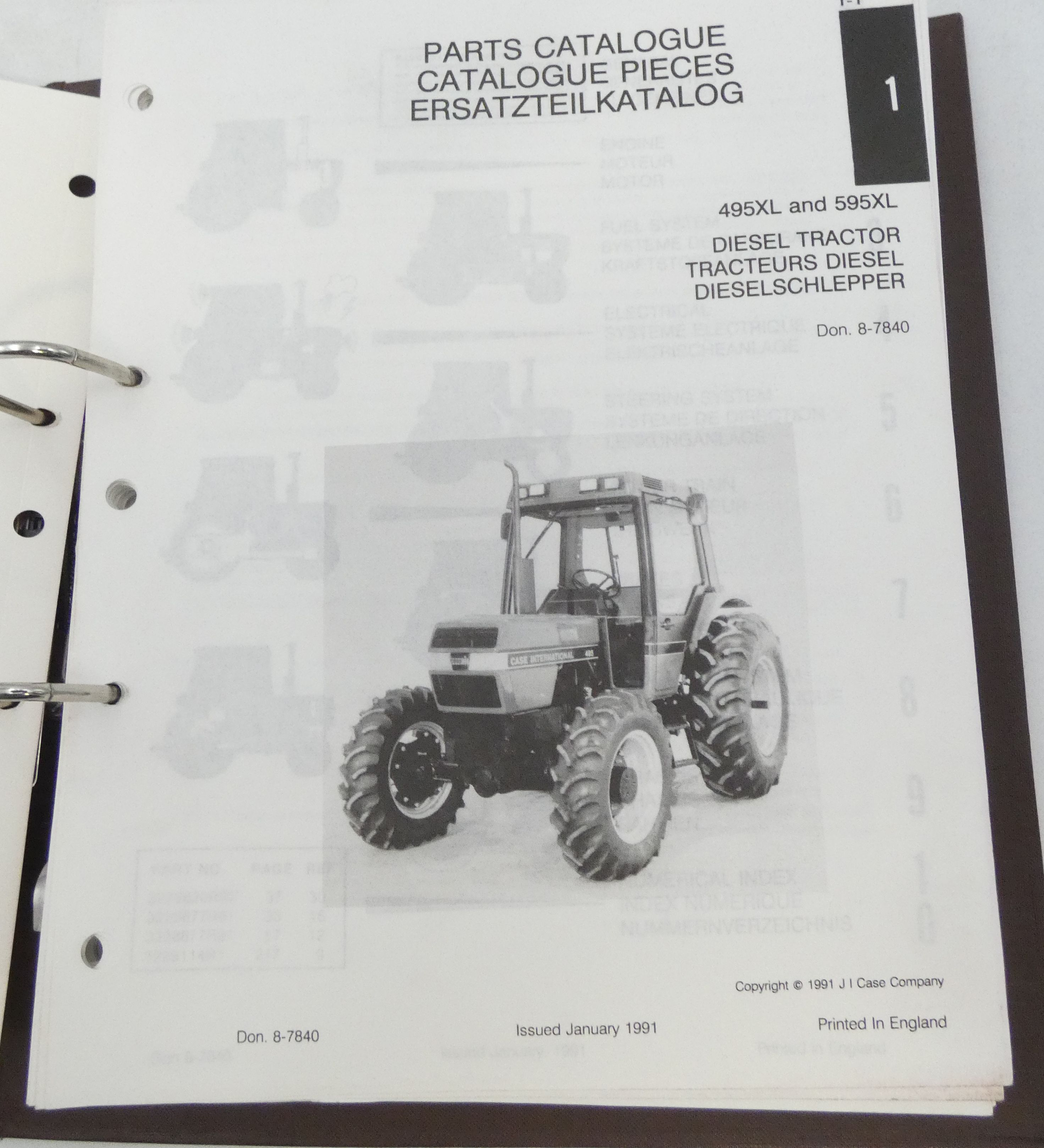 Case International 495XL and 595XL diesel tractor parts catalogue