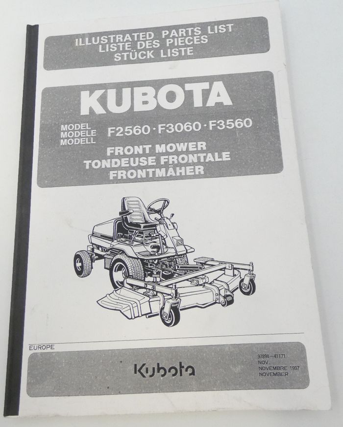 Kubota model F2560, F3060, F3560 front model illustrated parts list