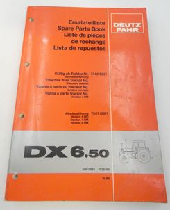Deutz-Fahr DX6.50 spare parts book