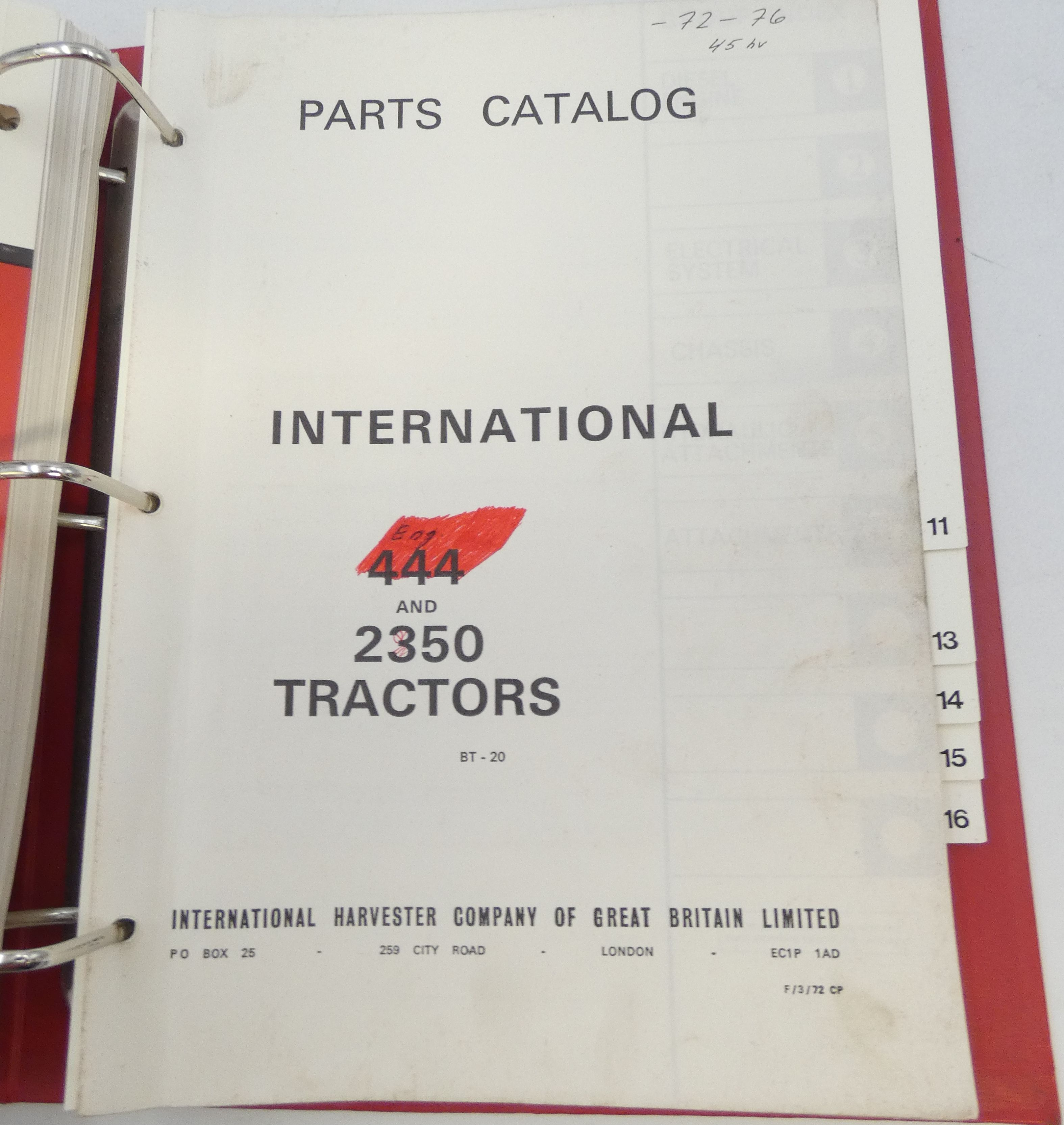 CaseIH 444 tractor and 2350 series A tractor parts catalog