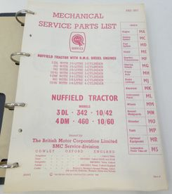 Nuffield tractor models 3DL, 342, 10/42, 4DM, 460, 10/60 service parts list