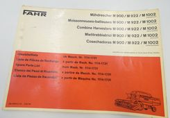 Fahr M900, M922, M1002 combine harvesters spare parts list
