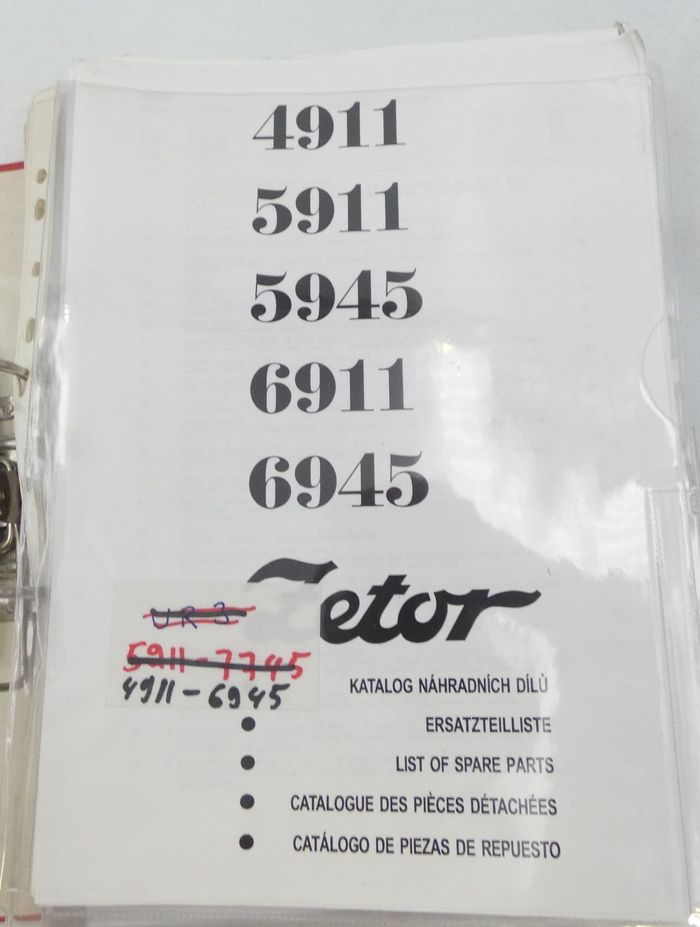 Zetor 4911, 5911, 5945, 6911, 6945 list of spare parts