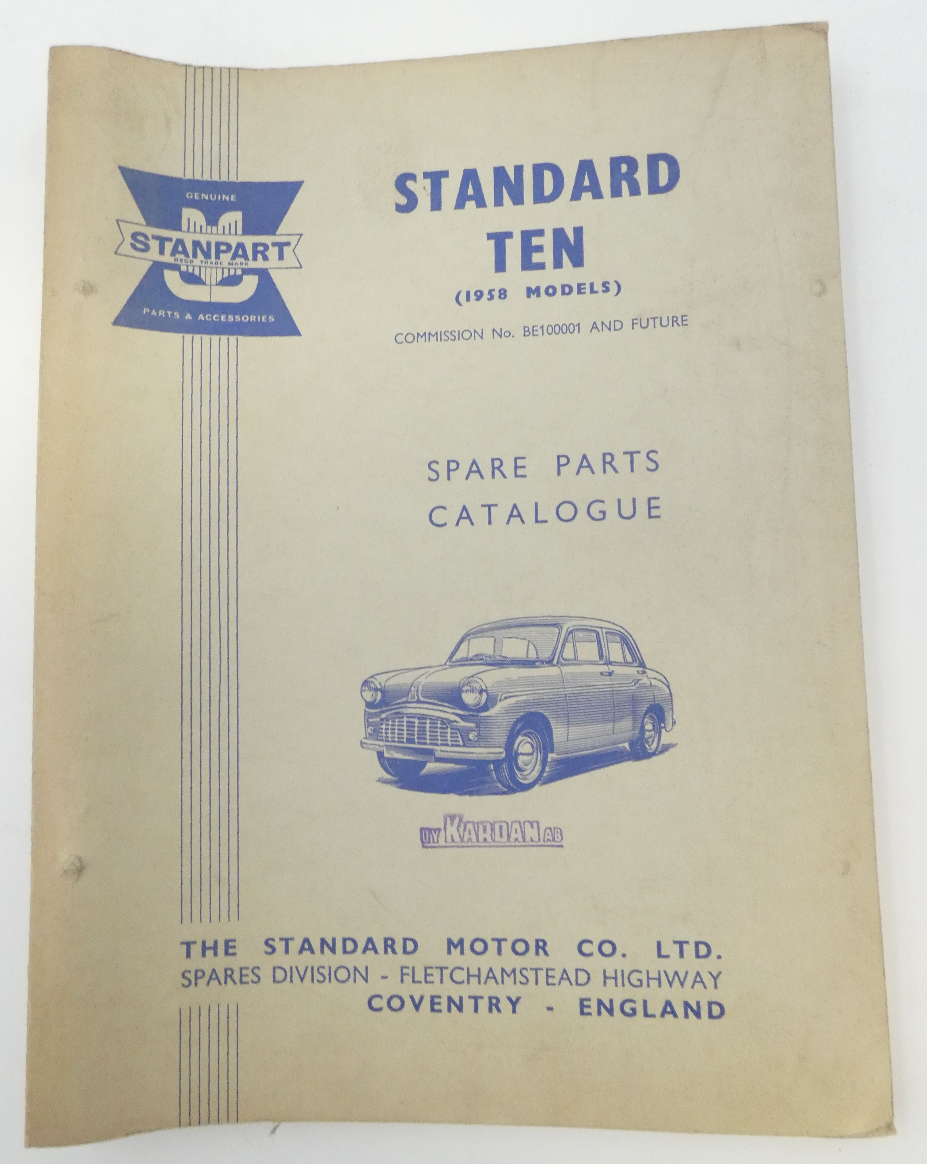 Standard Ten (1958 models) spare parts catalogue