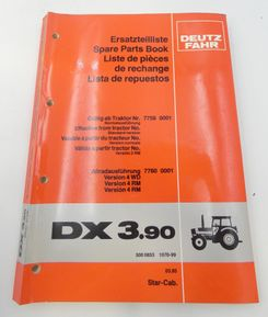 Deutz-Fahr DX3.90 spare parts book
