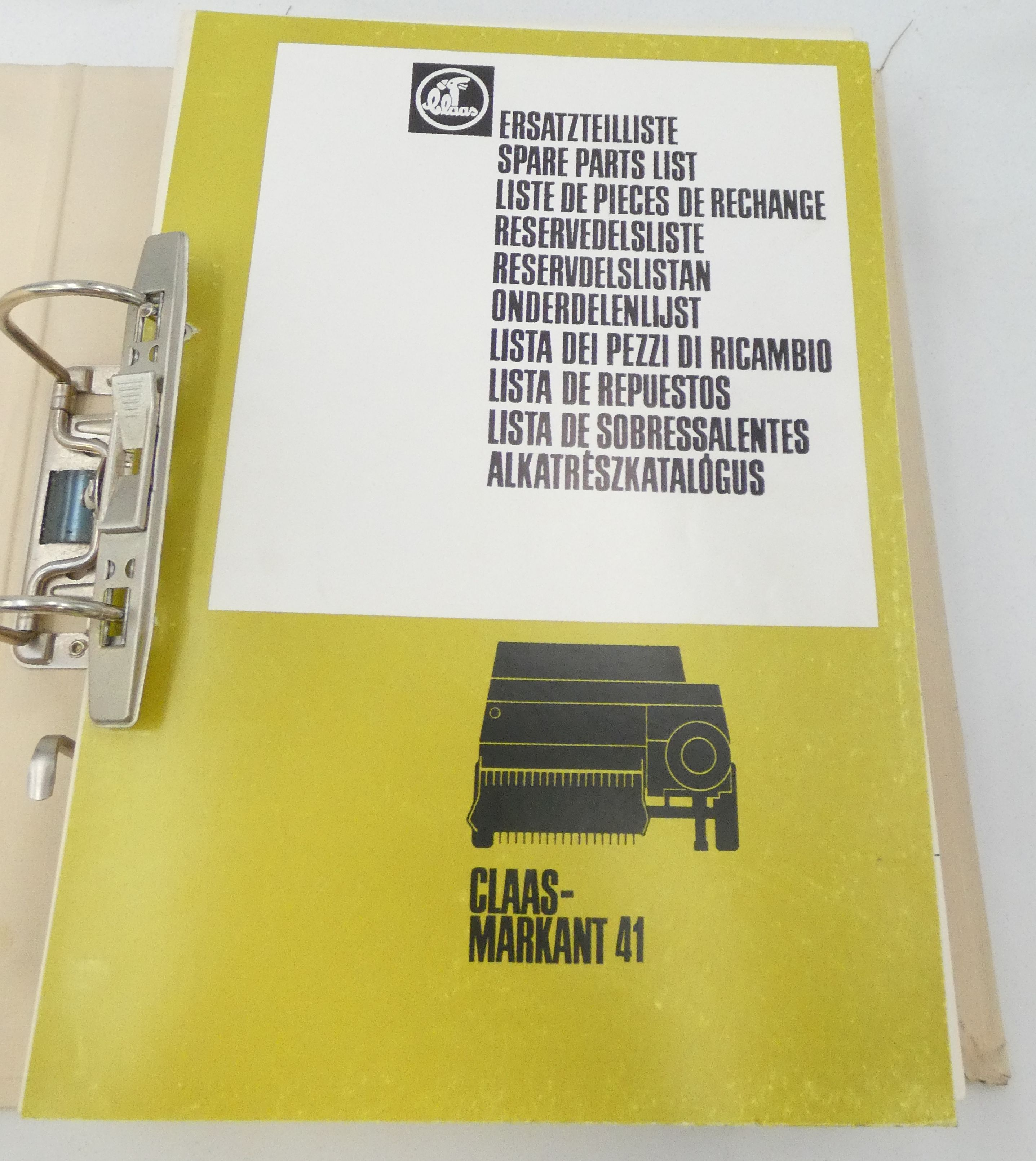 Claas Rollant 41, 51, 55 spare parts list