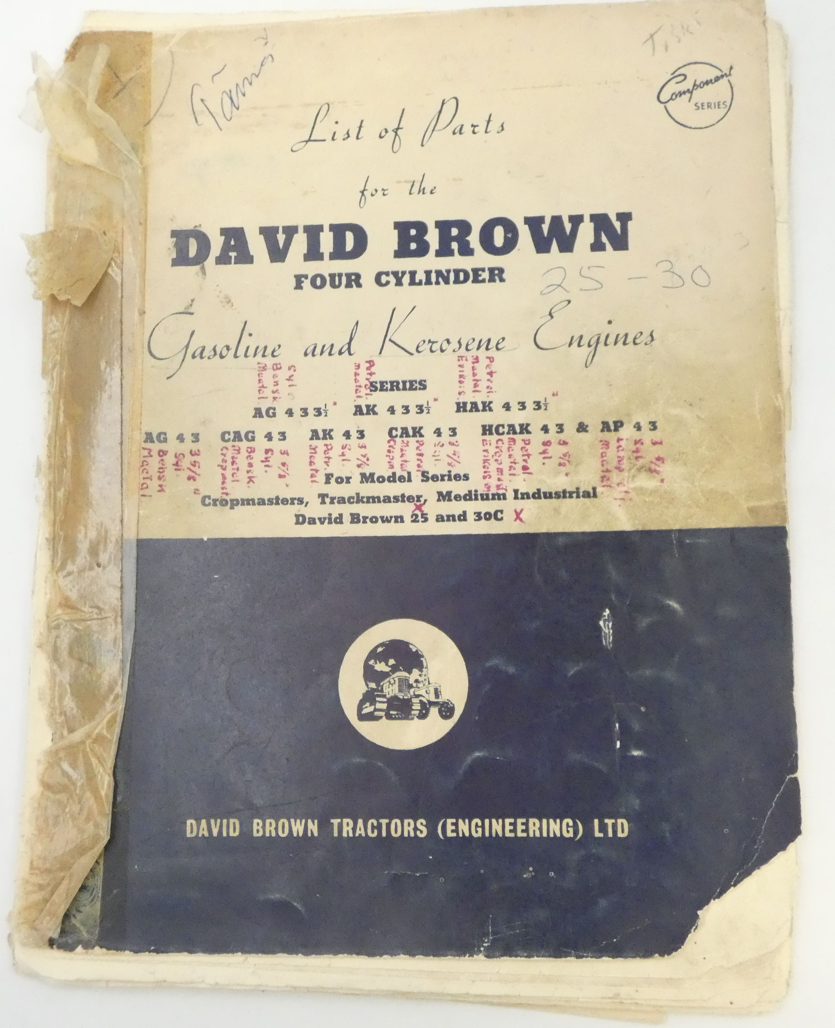 David Brown list of parts for the four cylinder gasoline and kerosine engines
