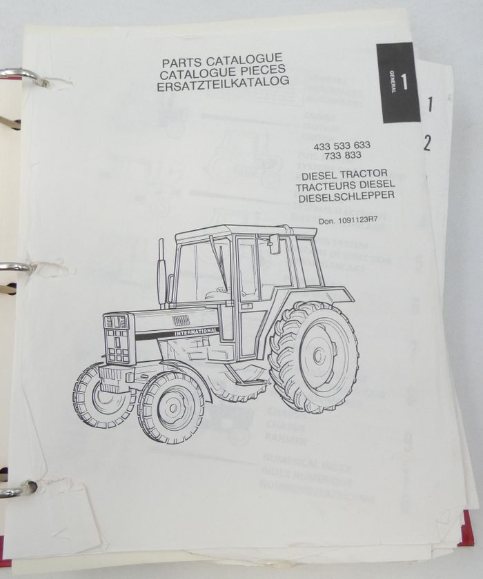 International 433, 533, 633, 733, 833 diesel tractor parts catalogue