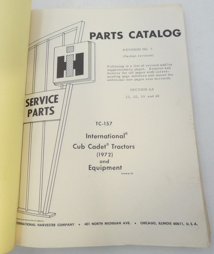International Cub cadet tractors (1972) and equipment parts catalog