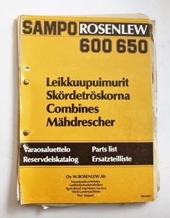 Sampo Rosenlew 600, 650 Varaosaluettelo Parts List