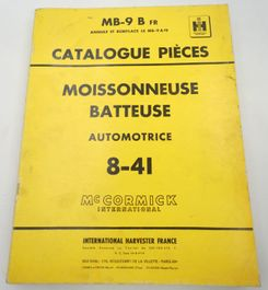 McCormick International Moissonneuse batteuse automotrice 8-41 catalogue pieces