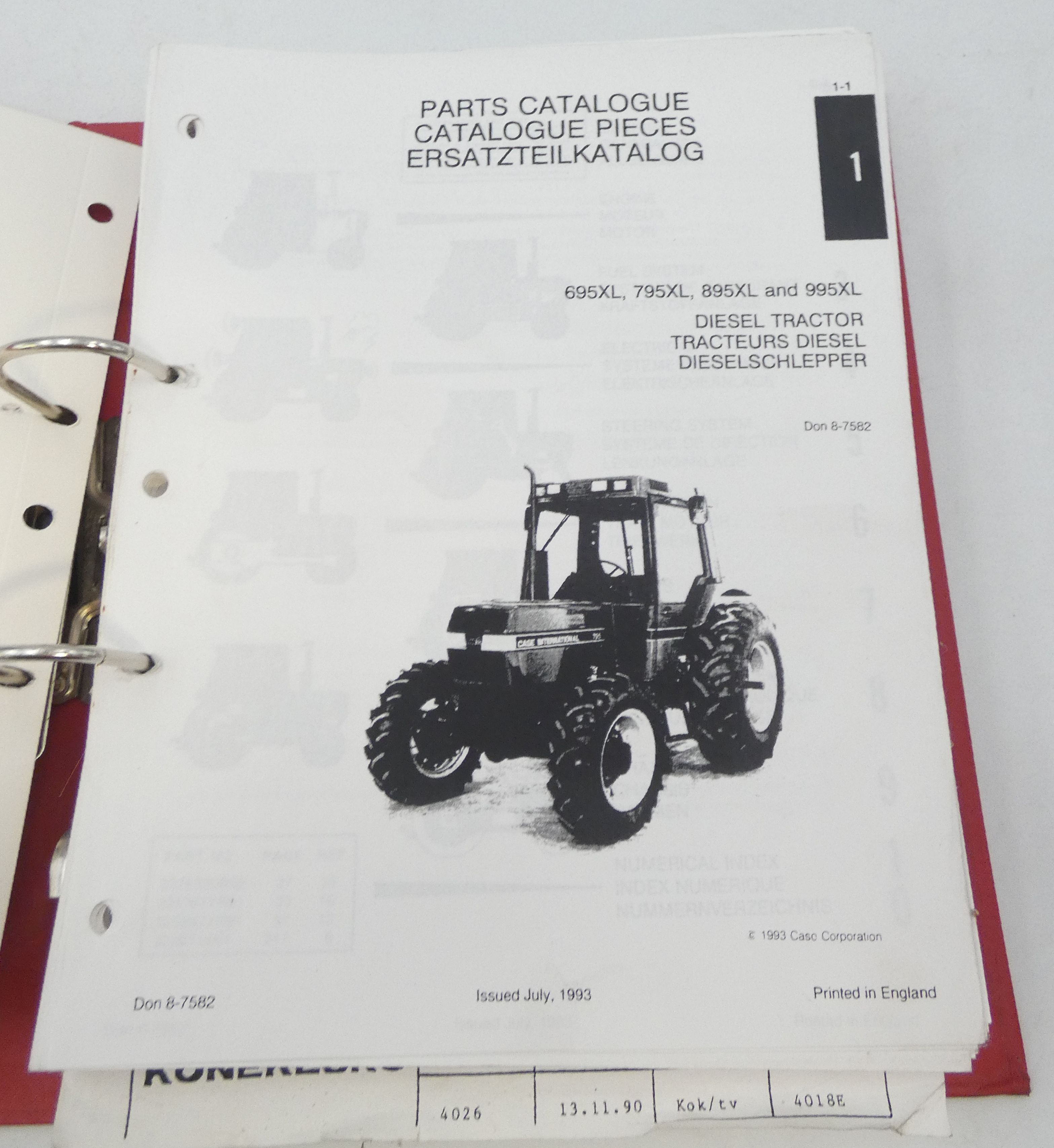 Case International 695XL, 795XL, 895XL and 995XL diesel tractor parts catalogue