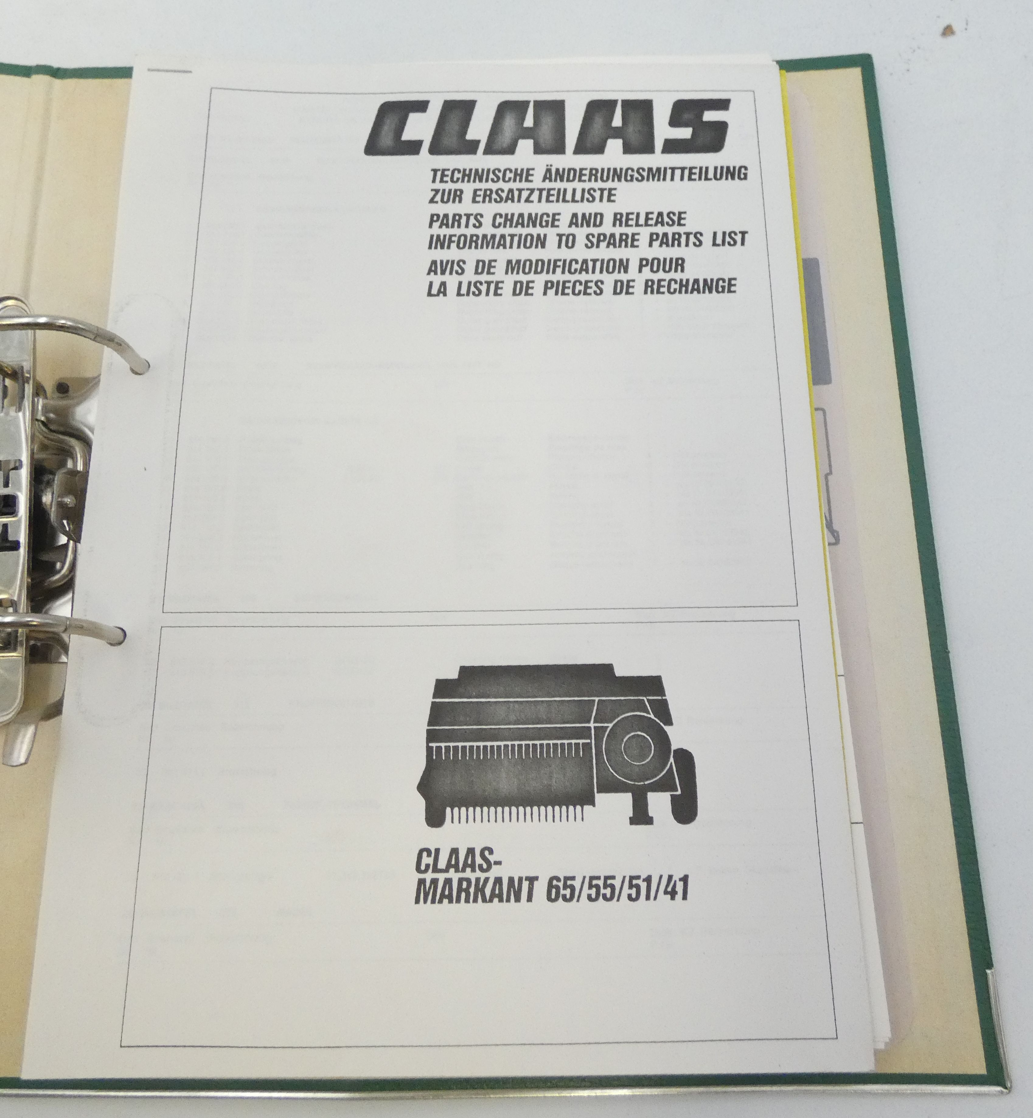 Claas Markant 65/55/51/41 parts change release information + spare parts list