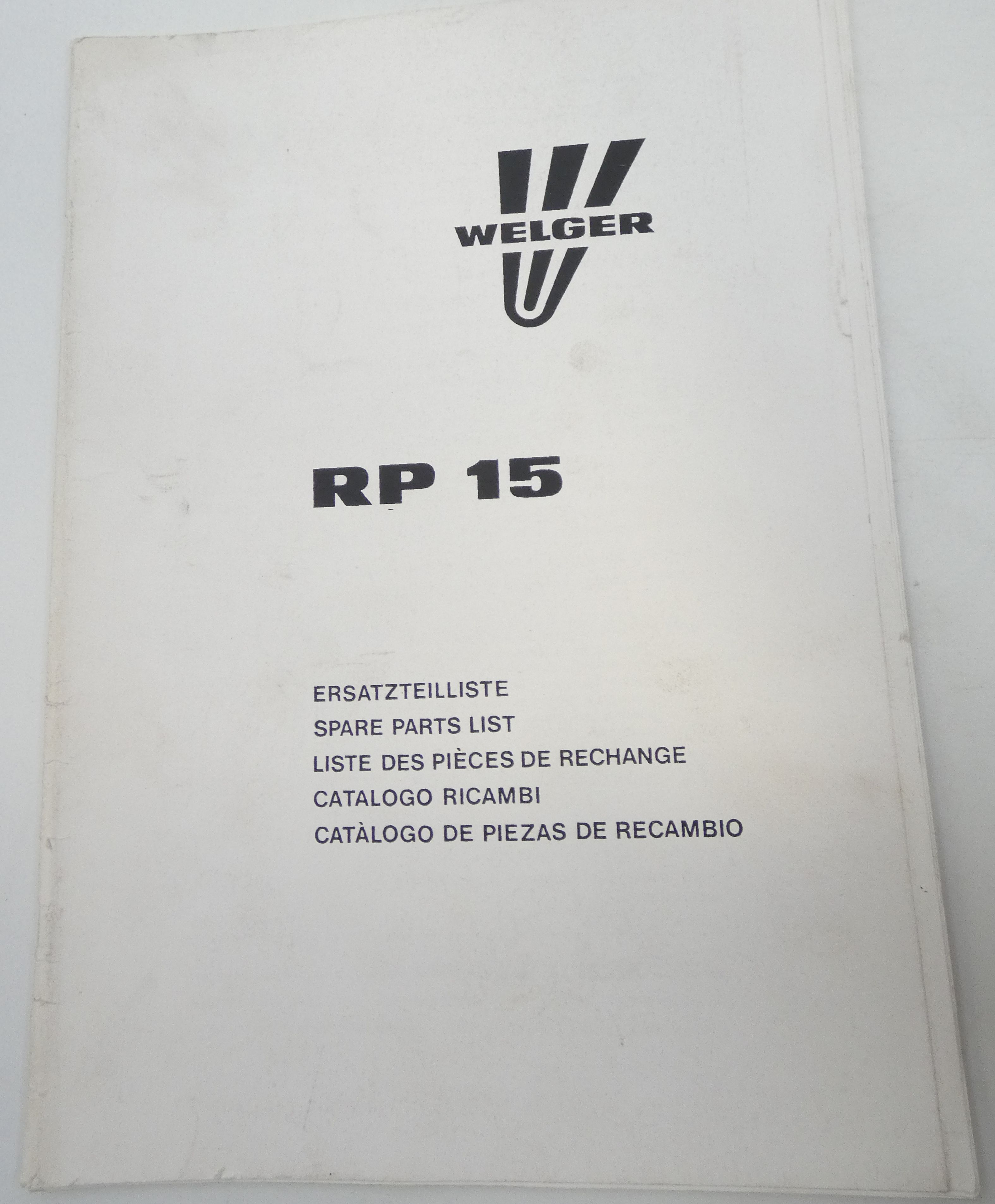 Welger RP 15 spare parts list