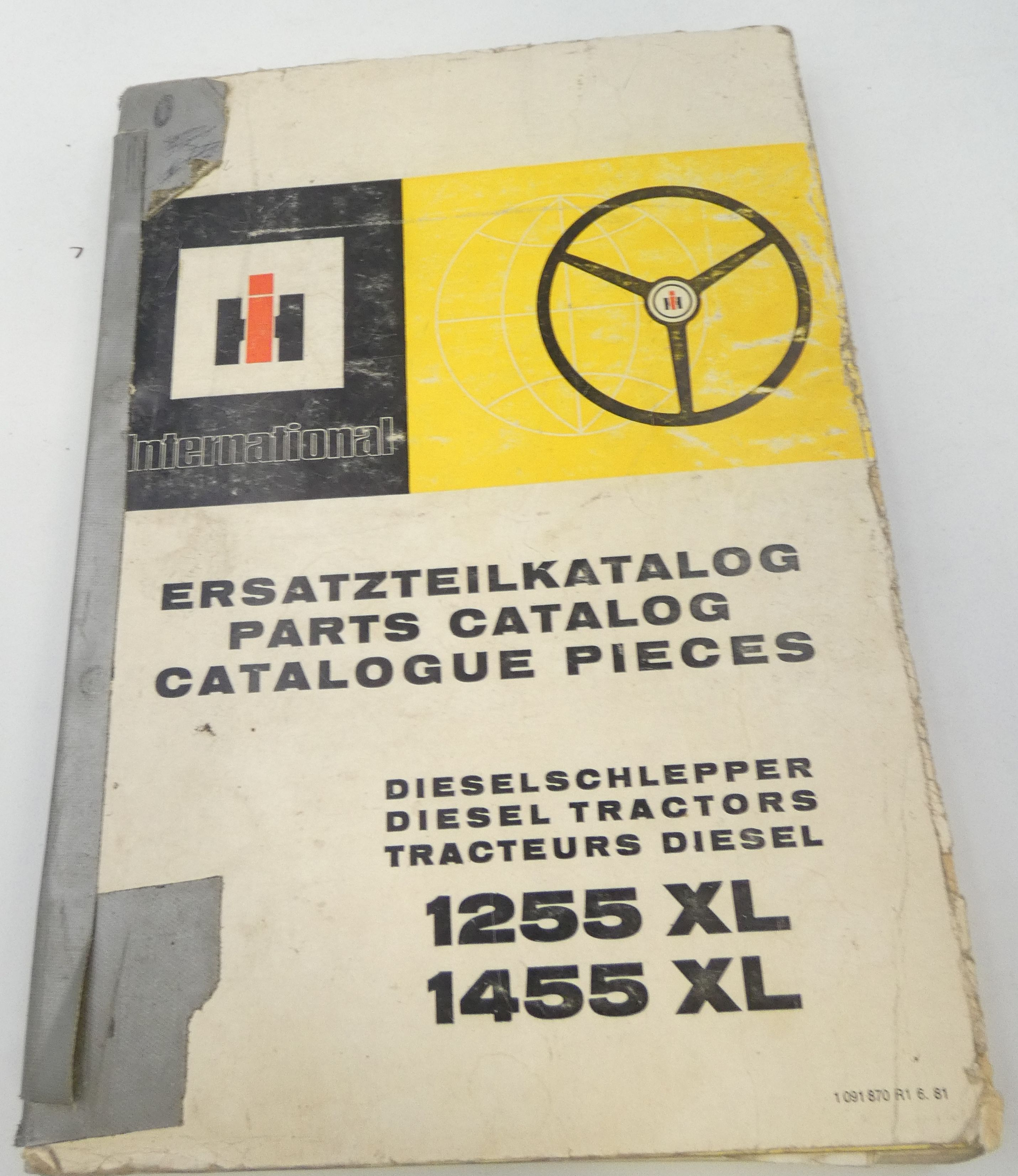 International 1255XL, 1455XL diesel tractors parts catalog