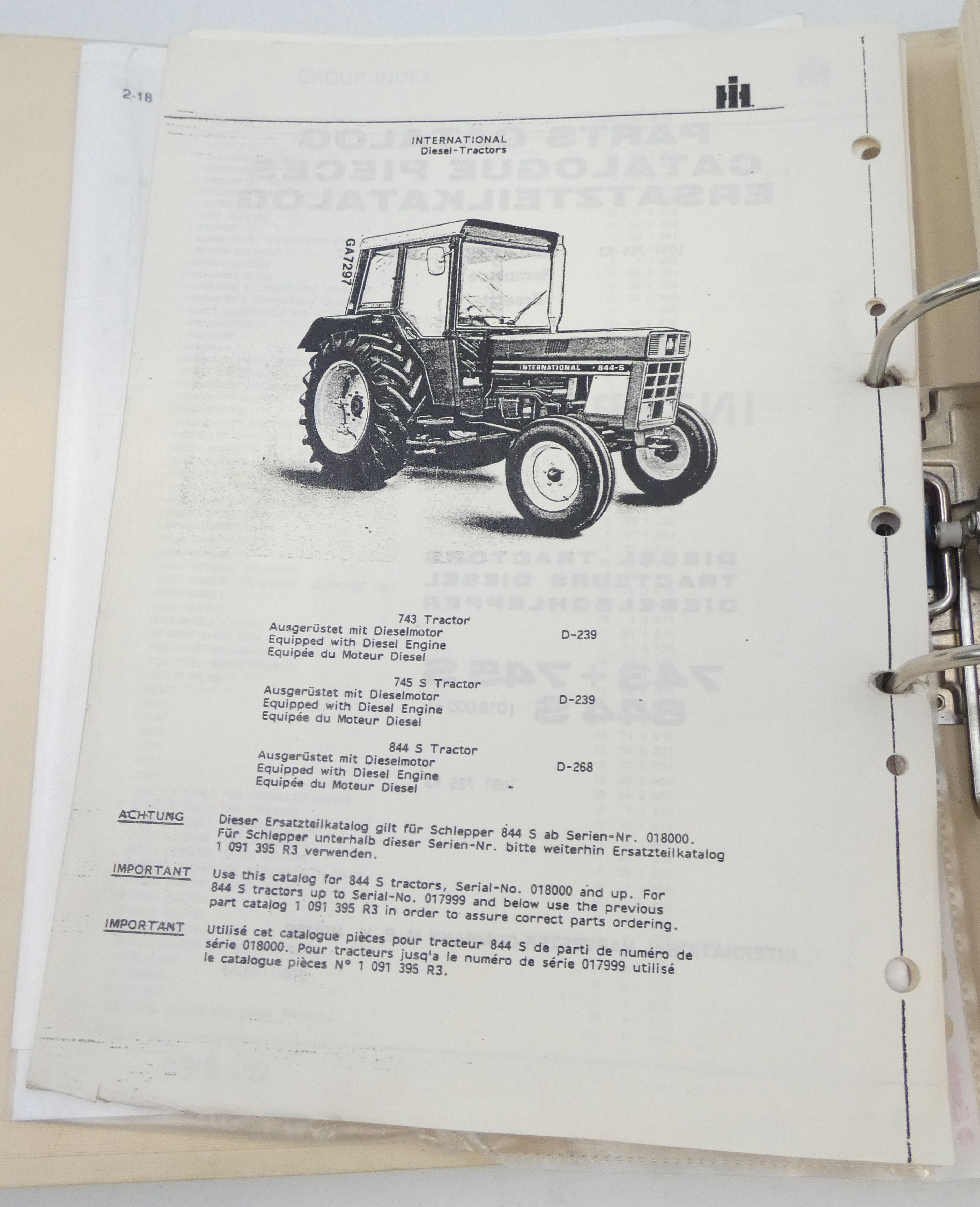 CaseIH 743, 745S, 844S (PIN 18000-) diesel tractor parts catalog