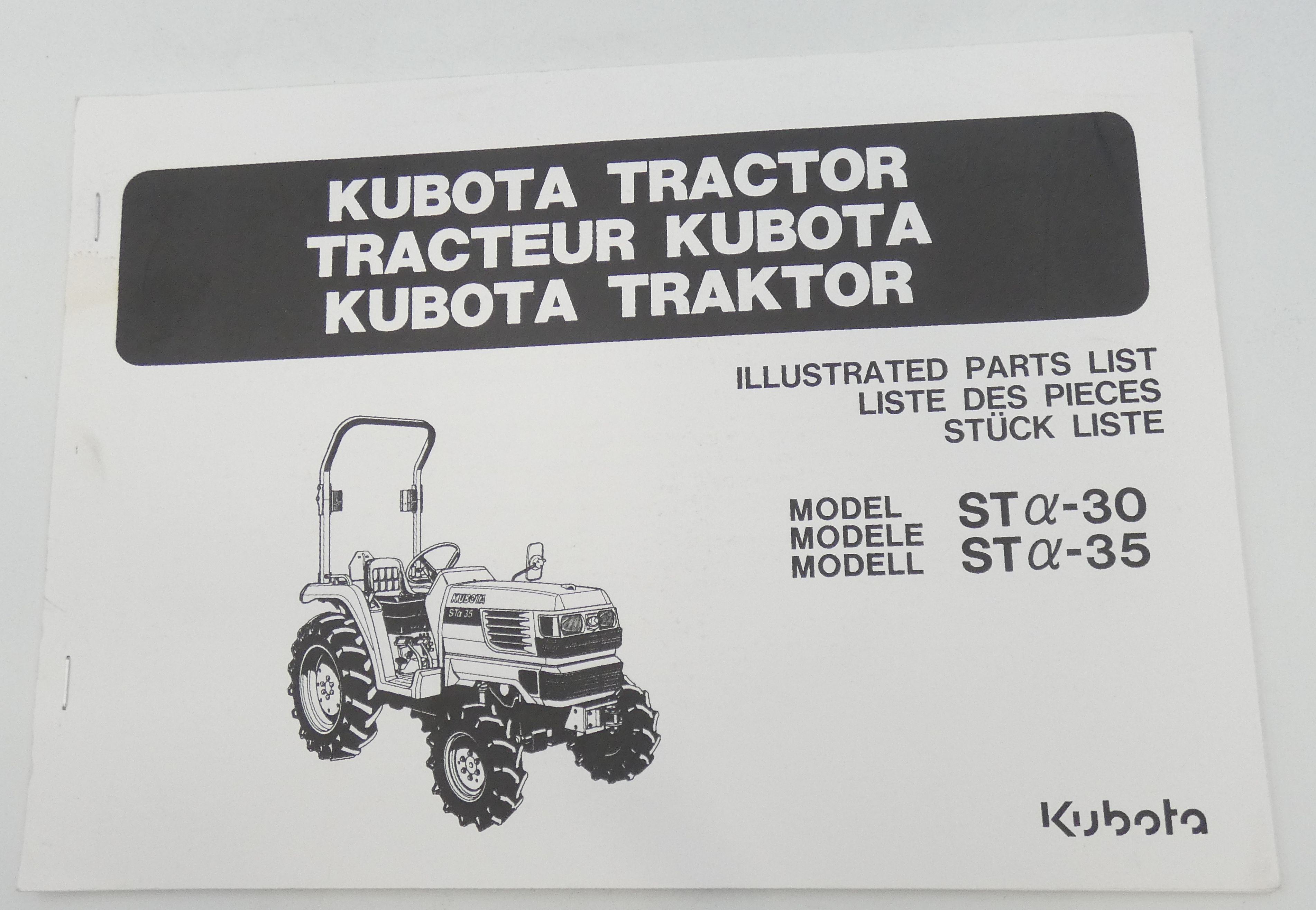 Kubota tractor models STa-30, STa-35 illustrated parts list