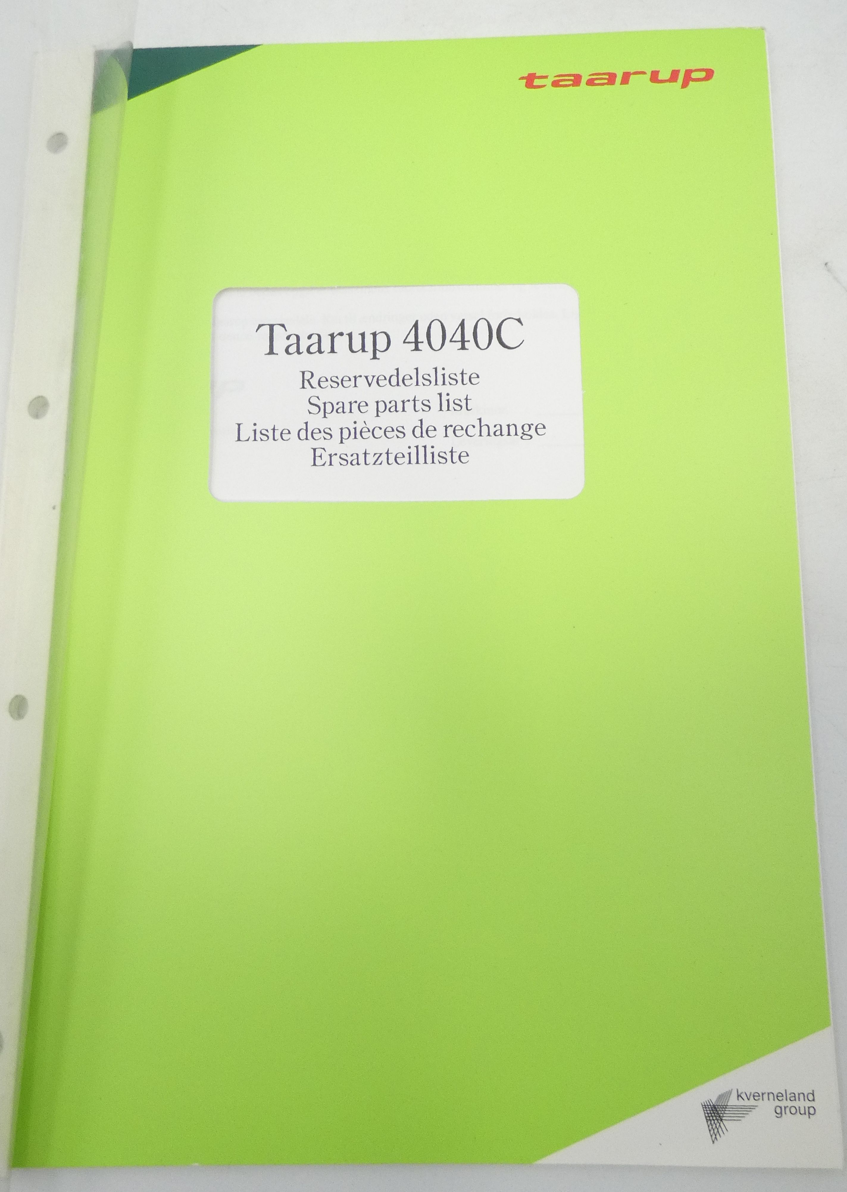 Taarup 4040C spare parts list