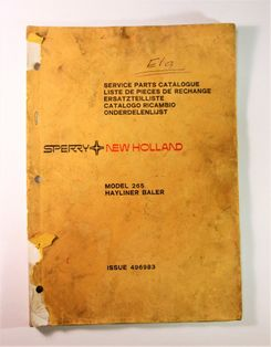 New Holland Sperry model 265 Hayliner Baler Service Parts Catalogue