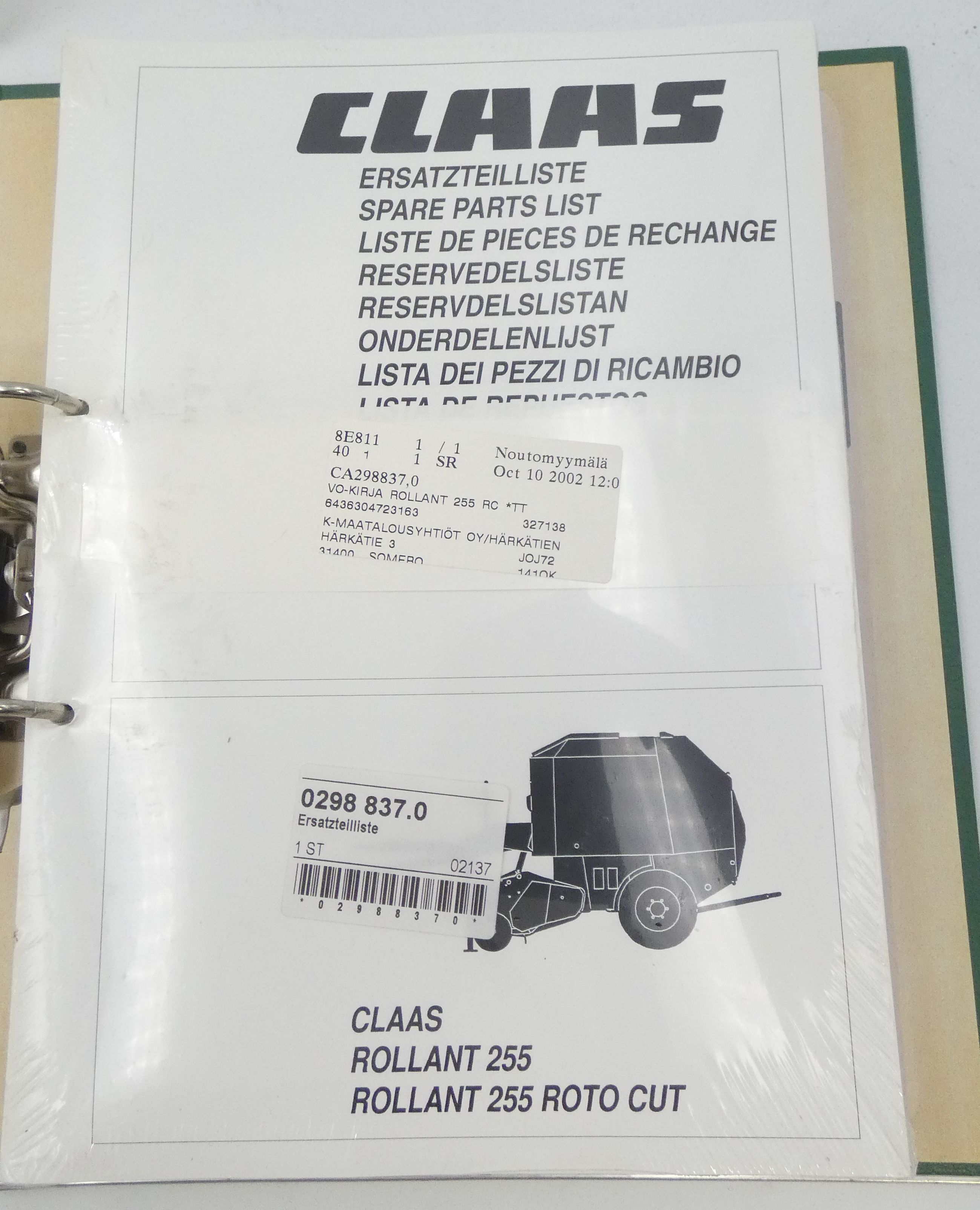 Claas Rollant 255/255 parts cut + Rollant 66 spare parts list