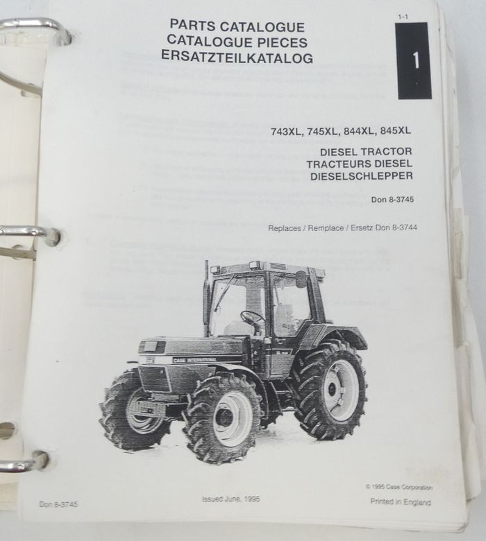 Case international 743XL, 745XL, 844XL, 845XL diesel tractor parts catalogue